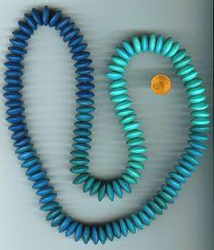 Polymer Clay Linsenkette türkis