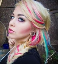 Pink and blue streaks, have these same colors in my hair right now!