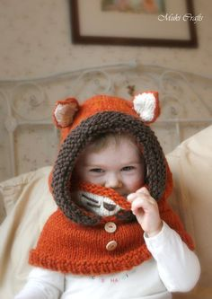 Knit fox hood cowl Rene PDF knitting pattern in baby