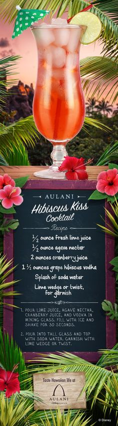 Get a kiss of refreshment with our Hibiscus Kiss Cocktail! Give this light and easy cocktail recipe a try and bring the flavors of Aulani to your home! Get a kiss of refreshment wit Easy Cocktails, Cocktail Drinks, Cocktail Recipes, Refreshing Drinks, Yummy Drinks, Cheers, Disney Food, Disney Disney, Fresh Lime Juice