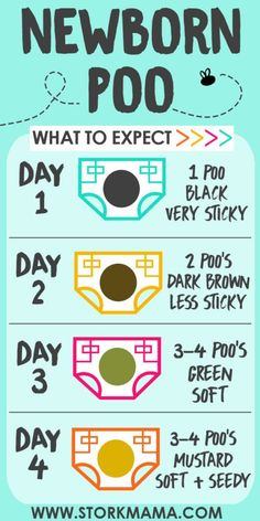 What to expect in your newborn babys dirty diaper. Newborn poo color changes, texture and amount. Stork Mama