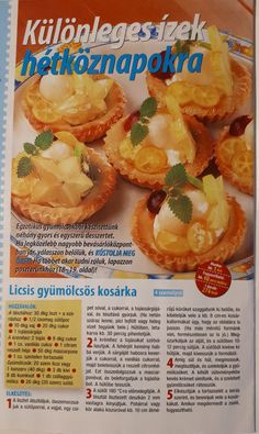 Licsis gyümölcsös kosárka Shrimp, Muffin, Meat, Breakfast, Food, Morning Coffee, Eten, Cupcakes, Muffins