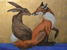 The Space Between the Hare and the Fox is a watercolour painting with gold leaf by Jackie Morris.