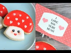 I made Kawaii Valentine's Day Cookies - in this video I show you how to make adorable Mushroom Cookies and I also show you how to wrap them using a pretty la...