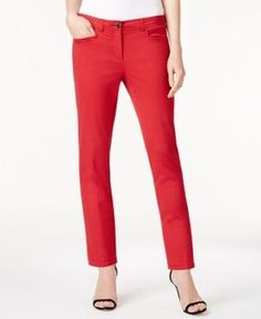 Anne Klein Twill Bowie Slim-Fit Pants - Red 12
