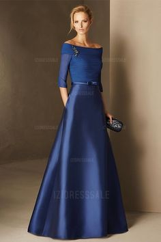 A-Line/Princess Off-the-shoulder Sweep/Brush Train Chiffon Mother of the Bride Dress
