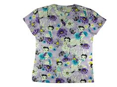 2e965d2fbce Amazon.com: CaringPlus Scrubs Women's Top V-neck Printed Sassy Betty Boop  (Small): Clothing