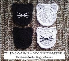 EyeLoveKnots: Cat Face Coasters - Free Crochet Pattern
