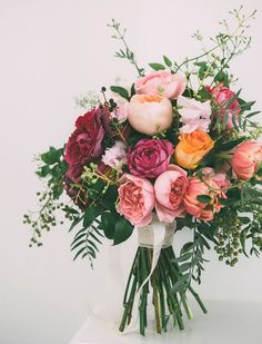 spring bridal bouquet with cascading foliage - brides of adelaide