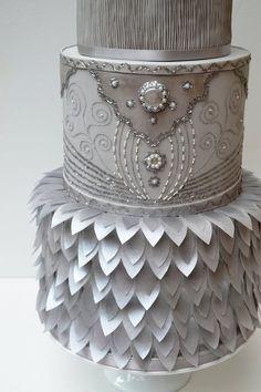 Beautiful ruffled silver cake