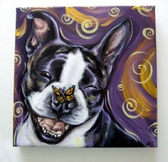 Boston terrier painting on canvas | ... . They say she is a sweet and very happy Boston with a pretty smile