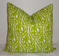 Lime Green Chartreuse Kimono Damask Pillow Cover by HomeLiving