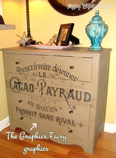 """Coco Chalk Painted Dresser with Graphics from """"The Graphics Fairy"""" - Artsy Chicks Rule"""