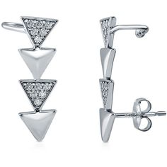 BERRICLE Sterling Silver CZ Triangle Fashion Cuff Earrings ($40) ❤ liked on Polyvore featuring jewelry, earrings, clear, cuff earrings, women's accessories, triangular earrings, cz earrings, sparkly earrings, sterling silver cz earrings and clear crystal earrings