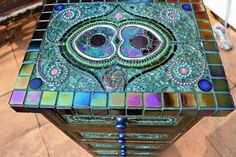 SOLD - Mosaic art, Mosaic Peacock Chest of Draws - SOLD. £1,141.00, via Etsy.
