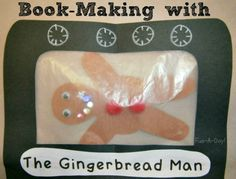 """Book Making With Kids """"The Gingerbread Man"""" from www.fun-a-day.com.  A fun book based on the children's book.  A great way to get kids engaged in creating and ready books!"""