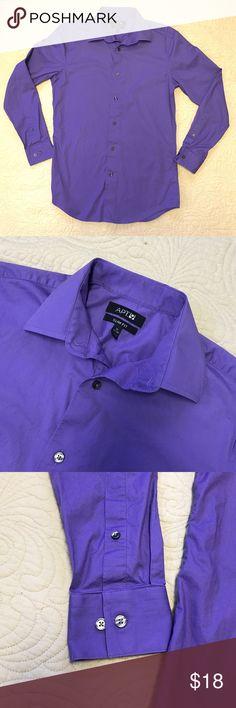 Men's Purple Slim Fit Stretch Dress Shirt Apt 9 Men's Slim Fit Stretch purple button down long sleeve dress shirt in size 15 32/33. 97% Cotton / 3% Spandex Apt. 9 Shirts Dress Shirts