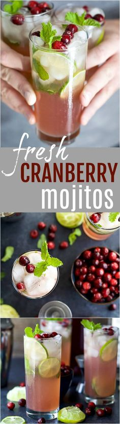 Holiday Cranberry Mojito Recipe made with fresh mint, cranberry and lime juice, agave nectar and rum. An easy party cocktail all made in one pitcher! It's sure to be a hit at your next holiday party!