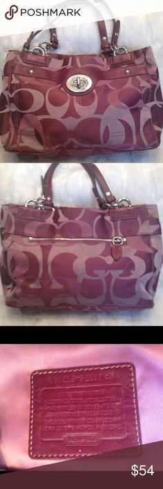 COACH Penelope Mauve Sateen Shoulder Bag COACH#J1176-F17140. In good shape. Good straps. Liner has 1 faint small pen mark shown in pic. No scuffs on the corners. Has some tarnish on the hardware shown in pic. 1 front pocket. The bag has 3 compartments. Measures 8x14 Coach Bags Shoulder Bags