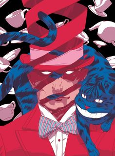 Johnny Dombrowski. The Hat & The Cat. Human. Animal. Red & Blue. Art. True Talent. Skill. Colorful. Powerful. Fresh. Painting. Abstract. Imagination. Inspiration. Bowtie. Cups. Dream. Cool. Dope. Illustration.