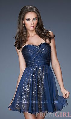 Short Strapless Sequin Dress by La Femme at PromGirl.com-- I must be taken somewhere where I can wear this.