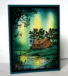 Northern Light Cabin by annascreations - Cards and Paper Crafts at Splitcoaststampers Card Making Tutorials, Making Ideas, Scrapbook Cards, Scrapbook Expo, Scrapbooking, Birthday Cards For Men, Copics, Watercolor Cards, Masculine Cards