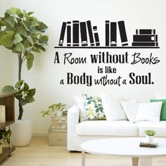 A Room Without Books Quote Library Wall Sticker Decal Vinyl Wall Art Transfer