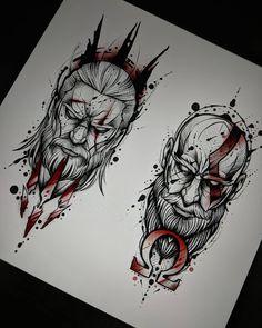 No photo description available. Lion Tattoo Design, Tattoo Design Drawings, Tattoo Sketches, Art Sketches, Viking Tattoo Design, Zeus Tattoo, Poseidon Tattoo, War Tattoo, Tattoo Studio