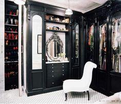 Elegant gothic wardrobe. I love the glass doors!