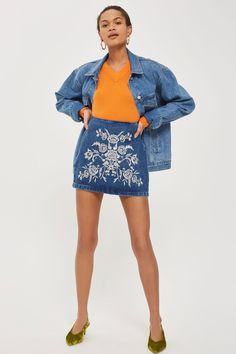 MOTO Embroidered A-Line Skirt