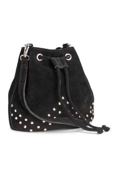 58381665160 H M Small Suede Bag PREMIUM QUALITY. Small drawstring shoulder bag in suede  with studs at front. Detachable, adjustable shoulder strap and one inner ...