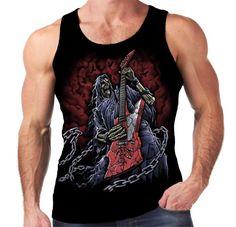 Velocitee Mens Vest Grim Reaper Guitarist Guitar Heavy Metal Skeleton A15419 #Velocitee