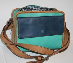 NWT $138 FossilAbbot Camera Leather Crossbody Bag Tri Color  #Fossil #MessengerCrossBody