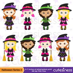HALLOWEEN Digital Clipart Halloween Witch Clipart от Cutesiness