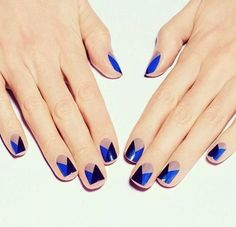 Blue Black and nude nails