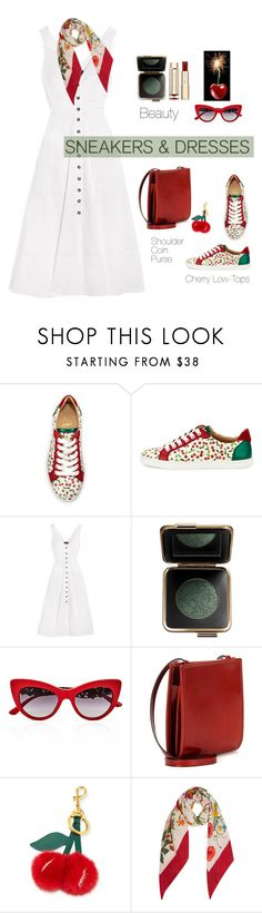 """Cherry Bomb 🍒 🍒"" by jacque-reid ❤ liked on Polyvore featuring Christian Louboutin, Saloni, Estée Lauder, Dolce&Gabbana, Givenchy, Anya Hindmarch and Gucci"