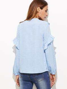 Blusa con escote V profundo y cordón de volantes - azul -Spanish  SheIn(Sheinside