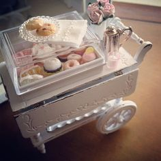 Darling miniature tea cart with goodies by Kim's Miniatures