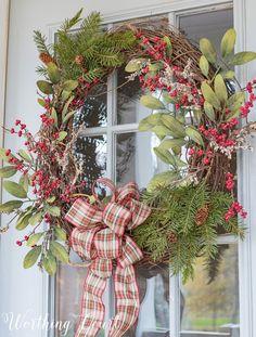 My Urban Farmhouse Christmas Front Porch DIY grapevine Christmas wreath Grapevine Christmas, Christmas Porch, Christmas Mood, Country Christmas, All Things Christmas, Christmas Wreaths, Christmas Crafts, Christmas Ideas, Christmas Christmas