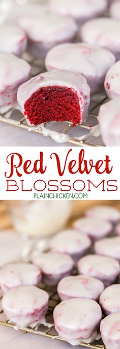 Red Velvet Blossoms - Plain Chicken - mini red velvet cakes dunked in a homemade cream cheese glaze. These things are CRAZY good!