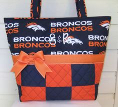 XL Orange / Blue Patchwork Football Quilted Purse by MsSewItAll32, $48.00