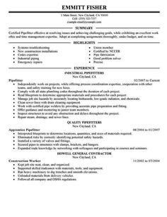 pipefitter cv