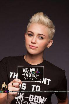 Cute hair!  Miley Cyrus