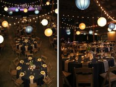 White chairs with navy linens