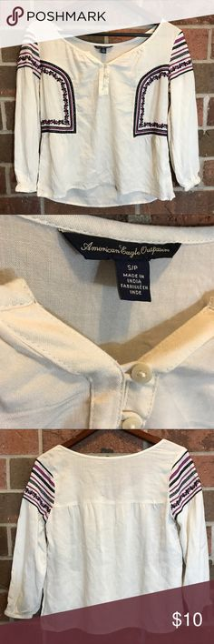 """American Eagle outfitters top Perfect spring top with a really cute bohemian design .                 Length 19""""  Chest 18"""".                                                                             Sleeve length 18""""  ✅ no trades * No modeling  * Accepting best offer * Keep in mind if you bundle you save more 💕 American Eagle Outfitters Tops Blouses"""