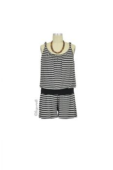 Sandy Twisted Strap Maternity Romper in Heather Grey & Black Stripes by Baju Mama with free shipping