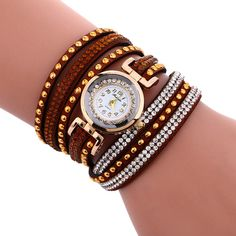 Fashion Chimes Diamond Leather Bracelet Lady Womans Wrist Watch
