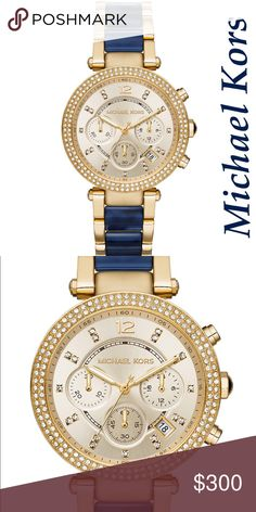 Lovely Navy and Gold Michael Kors bracelet watch Lovely Navy and Gold Michael Kors bracelet watch.  Brand new in box. Must be ordered. Also available in baby blue and pink. This would make an amazing gift Michael Kors Accessories Watches