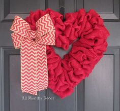 Red Burlap Valentine Heart Wreath with Chevron Bow. Rustic for home and door decor, gifts, or saying I love or miss you to someone special. - Handcrafted with red burlap - Red chevron burlap bow - Sin