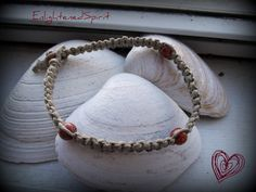 Natural Hemp anklet w/cranberry wooden beads by EnlightenedSpirit, $6.99